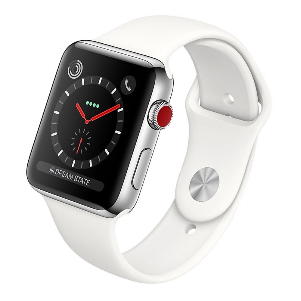 Apple Watch Stainless Steel Case with Soft White Sport Band